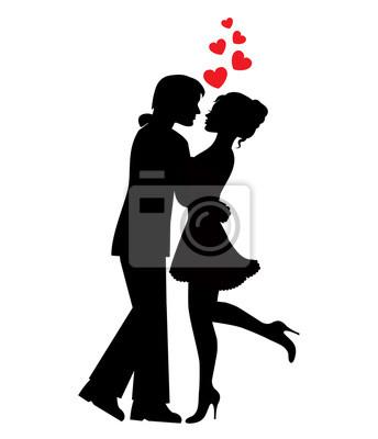 Siluetas De Parejas De Enamorados Y Corazones Sobre Un Fondo