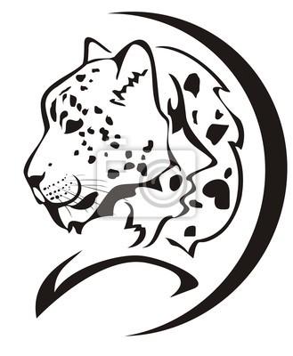 Símbolo De La Cabeza Del Leopardo De Nieve Negro En El Blanco