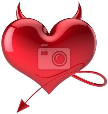 Símbolo del amor Diablo peligro corazón rojo total, con cuernos y cola