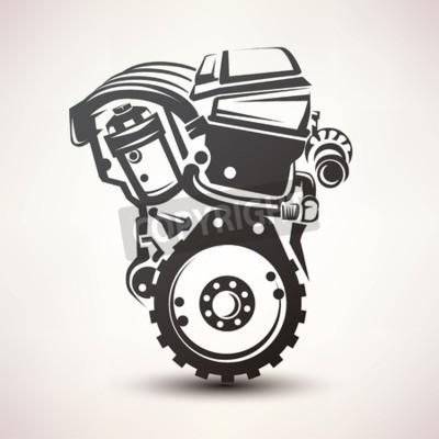 Cuadro Símbolo del coche del motor, icono estilizado de la silueta del vector