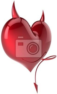 Símbolo en forma de corazón de amor Diablo con cuernos de color rojo pasión total de