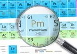 Elemento de la tabla peridica zoom con la lupa pinturas para la smbolo promethium pm elemento de la tabla peridica zoom con lupa urtaz Choice Image
