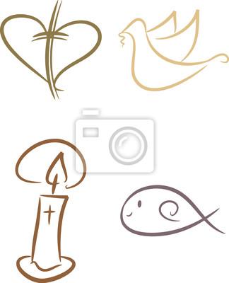 Cuadro Símbolos Cristianos Cruz Vela Pez Paloma