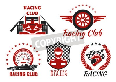 Cuadro Símbolos de competiciones de club de carreras y deportes de motor con autos de carrera de rueda abierta, corredor, casco protector y rueda alada, enmarcados por velocímetro, bandera de carreras, escud