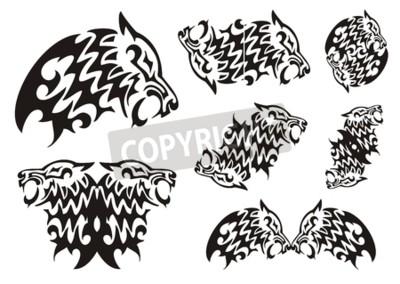 Símbolos Tribales Del Lobo Negro Sobre El Blanco Pinturas Para La