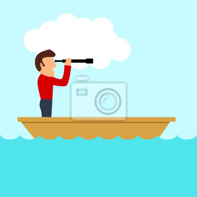 Simple Caricatura De Un Hombre En Un Barco Utilizando El Telescopio