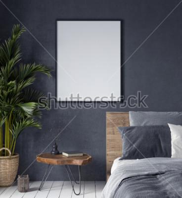Cuadro Simulacros de cartel en el interior del dormitorio, estilo étnico, render 3d