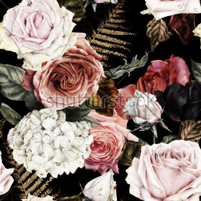 Cuadro Sin acuarela patrón floral con rosas, acuarela.