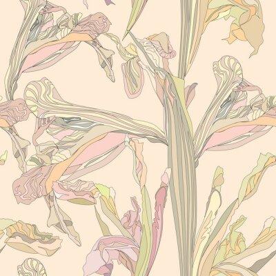 Cuadro sin fisuras de fondo de vectores flores suaves iris sobre fondo de color beige