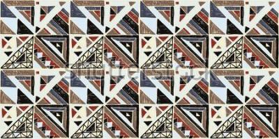 Cuadro Sin fisuras patrón geométrico africano. Adornos étnicos en la alfombra. Estilo azteca. Vector tribal de textura étnica. Bordado sobre tela. Indio, mexicano, patrón popular. Acolchado, patchwork, jacqu