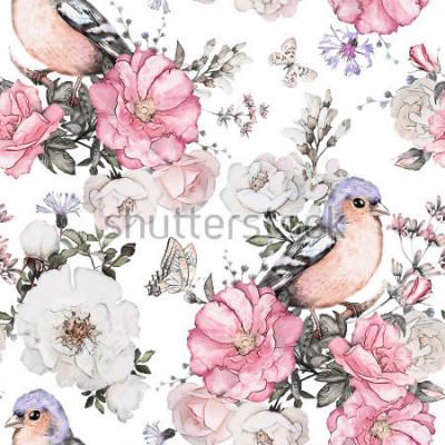 Cuadro Sin patrón, con flores de color rosa, ave - pinzón y hojas sobre fondo blanco, estampado de flores de acuarela, flor rosa en colores pastel, azulejo para papel tapiz, tarjeta vintage o tela