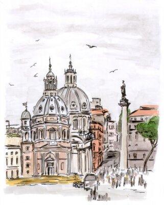 Cuadro Sketch of square in Rome