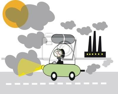Smog De Dibujos Animados De La Contaminación Pinturas Para La Pared