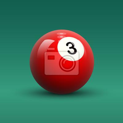 Cuadro Sólido de color rojo vector de billar bola número 3 en el cuadro  verde 5baa7e6d13f18