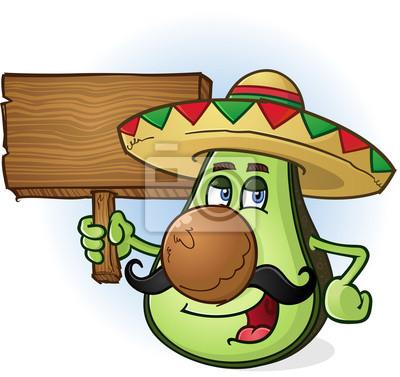 Cuadro Sombrero del personaje de dibujos animados de aguacate mexicano  Muestra De Madera 1764d444786