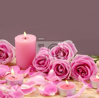 Spa velas y rosa con pétalos en la estera pinturas para la pared ...