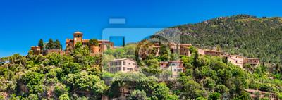 Spanien Landschaft Serra de Tramuntana Panoramica Anblick Berg Dorf Deia Mallorca