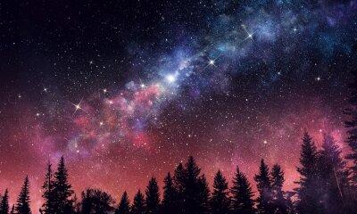 Stary claro cielo nocturno. Medios mixtos