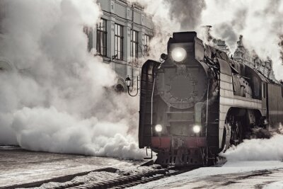 Cuadro Steam train departs from Riga railway station. Moscow.