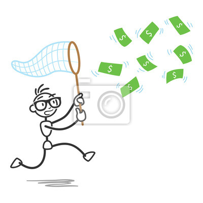 Stickman, persecución, dinero, cuentas, neto pinturas para la pared ...