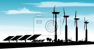Strom durch erneuerbare Energien, Wind und Sonne