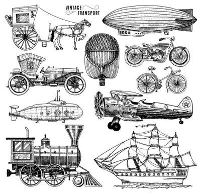 Cuadro Submarino, barco y coche, moto, Carruaje de caballos. Dirigible o dirigible, globo aerostático, corncob de aviones, locomotora. Grabado a mano dibujado en el viejo estilo de esbozo, transporte de pasa