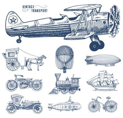 Cuadro Submarino, barco y coche, moto, Carruaje de caballos. Dirigible o dirigible, globo aerostático, corncob de aviones, locomotora. Mano grabada dibujado en viejo estilo del bosquejo, transporte de pasaje
