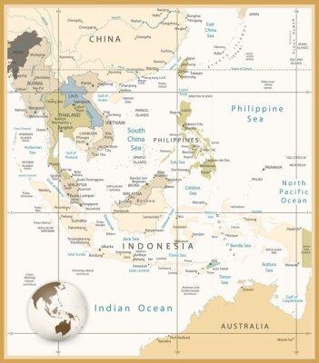Cuadro Sudeste de Asia Mapa detallado Retro colores