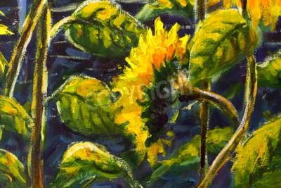 Cuadro sunflowers in sun Original oil painting of sunflower flowers, beautiful sunflowers flowers on canvas. Modern Impressionism.Impasto artwork.