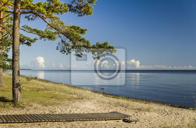 Sunny playa del mar Báltico, Letonia, Europa
