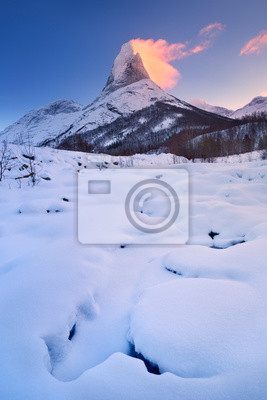 Sunrise at Stetind mountain in Norway in winter
