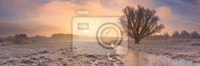 Sunrise over a frozen landscape in The Netherlands
