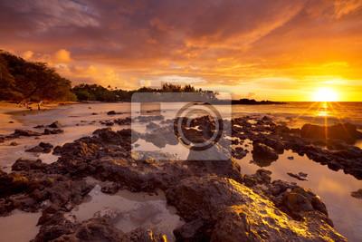 Sunset at Waialea Beach or Beach 69, Big Island Hawaii, USA