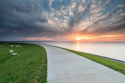 sunset over Wadden sea coast in summer