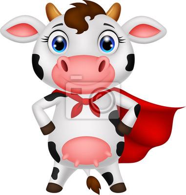 Superhero vaca posando dibujos animados pinturas para la pared ...