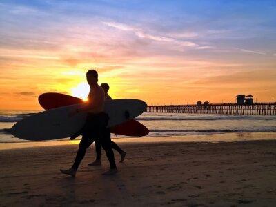 Cuadro Surfistas Sunset Beach Oceanside Pier San Diego California EE.UU.