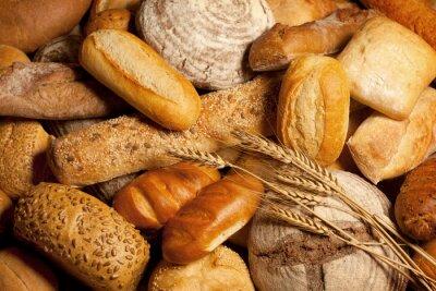 Cuadro surtido de pan horneado con trigo