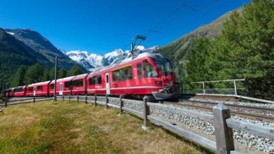 Cuadro Swiss mountain train Bernina Express crossed Alps
