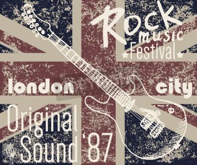 Cuadro T-shirt Diseño de impresión, gráficos de tipografía, London Rock festival ilustración vectorial con bandera de grunge y dibujado a mano boceto de guitarra Badge Applique Label.