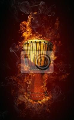 Cuadro Tambor africano en el fuego