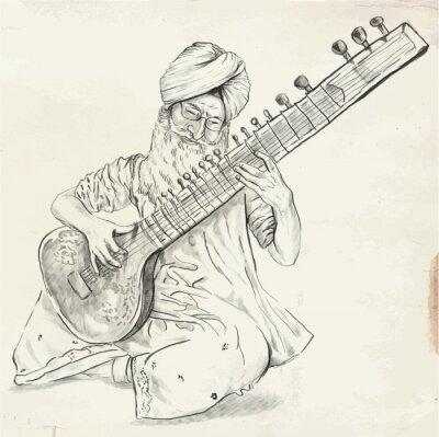 Cuadro Tanpura Player - vector illustration (converted)