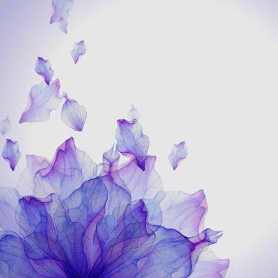Cuadro Tarjeta de acuarela con pétalo de flor púrpura