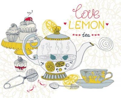 Cuadro tarjeta de amor de té de limón