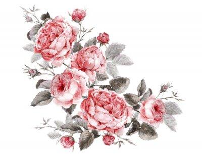 Cuadro Tarjeta de felicitación clásica del vintage floral, ramo de la acuarela de