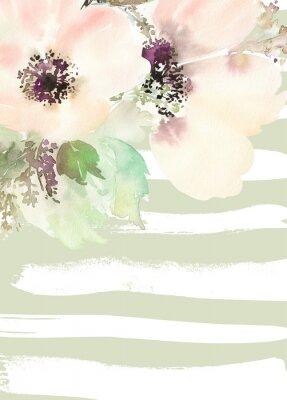 Cuadro Tarjeta de felicitación con flores. Colores en colores pastel. Hecho a mano.