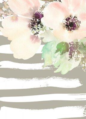Cuadro Tarjeta de felicitación con flores. Colores en colores pastel. Hecho a mano. Pintura de acuarela. Boda, cumpleaños, día de la madre. Despedida de soltera.
