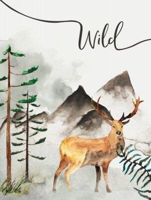 Cuadro Tarjeta de felicitación con fondo de bosque y montañas. Tema infantil Postal con ciervos. Fauna silvestre