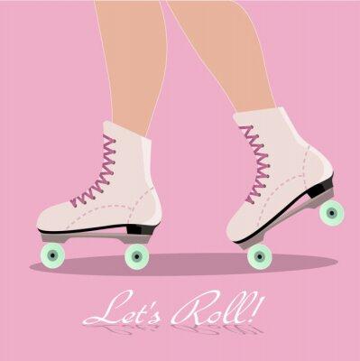 Cuadro Tarjeta de invitación con patines botas