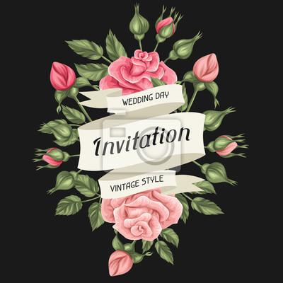 Tarjeta De Invitación Con Rosas Vintage Flores Decorativas