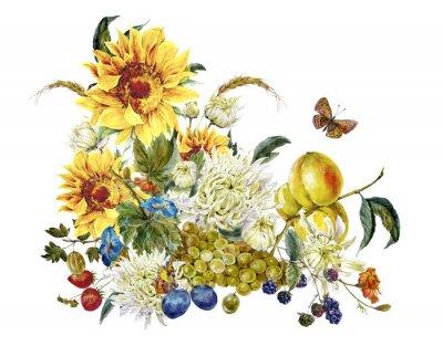 Cuadro Tarjeta de la vendimia de la acuarela con crisantemos, las frutas, los girasoles